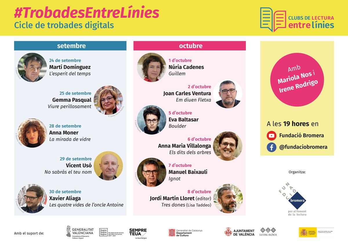 La Fundació Bromera organitza el cicle digital #TrobadesEntreLínies